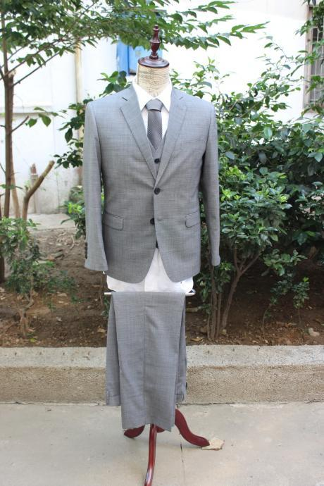 3 pieces Gray 100% Wool Suit for father, BF