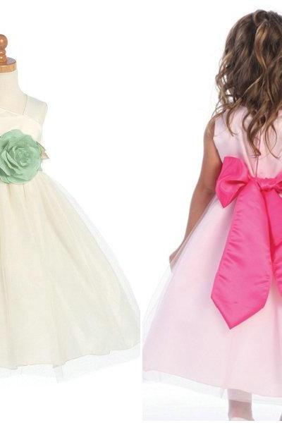 Real Photo Tulle&Satin Flower Girl Dresses for Weddings Ankle Length Pageant Dress for Little Girls Kids Dress Custom Made