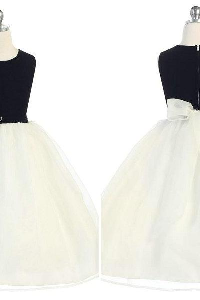 Custom Made Tulle&Satin Flower Girl Dresses for Weddings Pageant Dress for Little Girls Kids Dress with Sash Children Dress