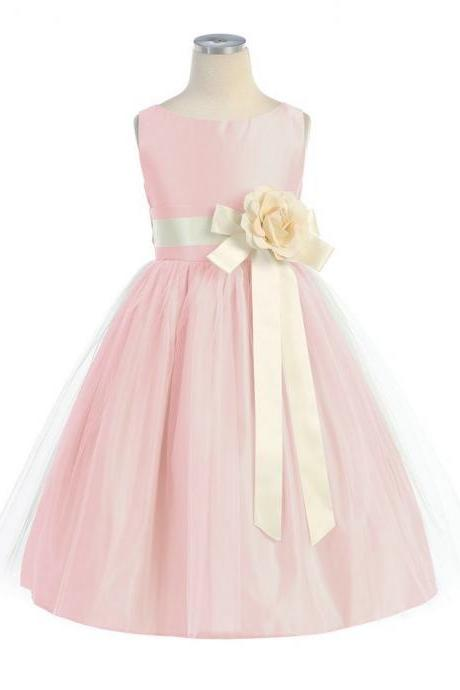 Custom Made Tulle&Satin Flower Girl Dresses for Weddings Ankle Length Pageant Dress for Little Girls Kids Dress Flower Girl Dress Children Dress