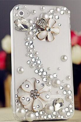 6c 6s plus White floral pearl rhinestone Hard Back Mobile phone Case Cover sparkly handmade Case Cover for iPhone 4 4s 5 7plus 5s 6 6 plus Samsung galaxy s7 s4 s5 s6 note5 4
