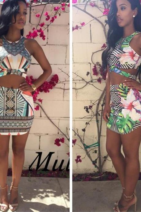 Hot colorful hot design two piece dress