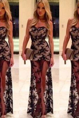 Hot cute strapless fork lace dress