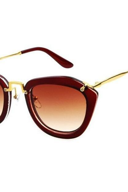 Fashion retro cat eye summer brown accessory sunglasses