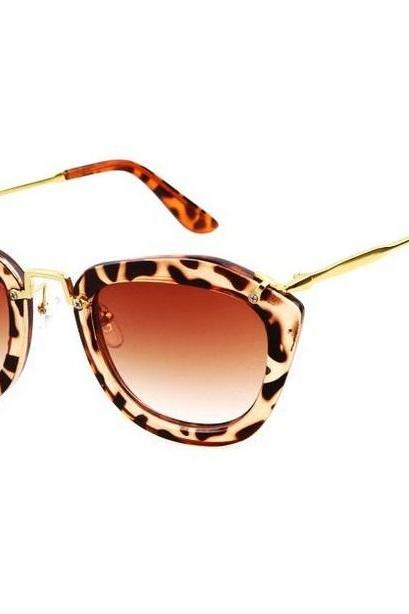 Fashion retro cat eye summer leopard accessory sunglasses
