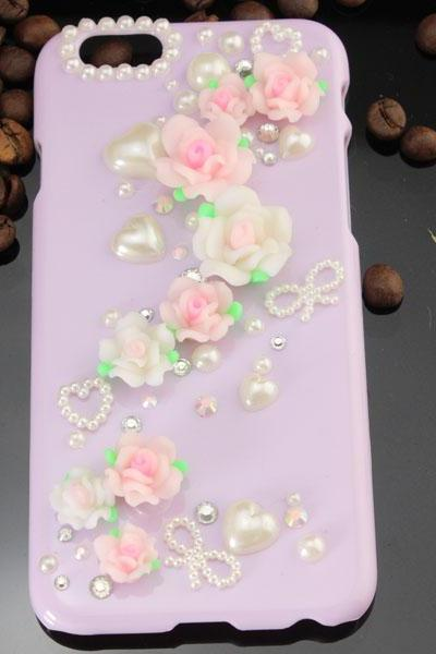 6c 6s plus 2016 HOT ! floral pearl rhinestone Hard Back purple Mobile phone Case Cover sparkly handmade girly Case Cover for iPhone 4 4s 5 7 5s 6 6 plus Samsung galaxy s7 s4 s5 s6 note10 4