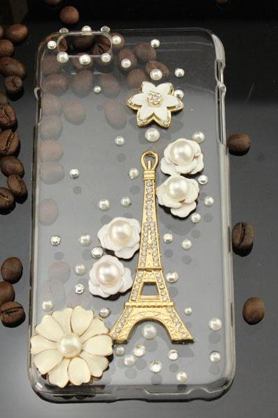 note5 6c 6s plus New Arrival Fashion Tower floral pearl rhinestone Hard Back Mobile phone Case Cover sparkly handmade girly Case Cover for iPhone 4 4s 5 7 5s 6 6 plus Samsung galaxy s7 s4 s5 s6 note5 4