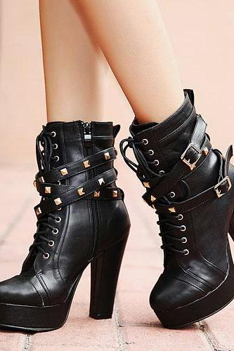 Cheap Spring Autumn Round Toe Zipper Design Rivets Decorated Chunky Super High Heel Black PU Mid Calf Cavalier Boots