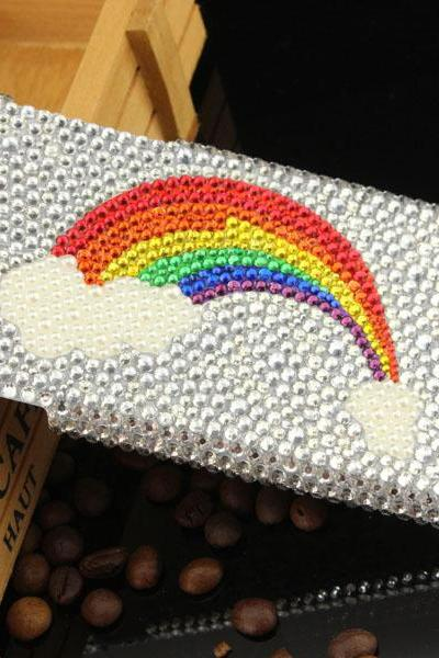 6c 6s plus Shinning rainbow Rhinestone Hard Back Mobile phone Case Cover bling handmade crystal Case Cover for iPhone 4 4s 5 7plus 5s 6 6 plus Samsung galaxy s7 s4 s5 s6 note5 4