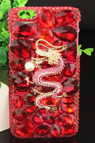6c 6s plus Red Dragon Rhinestone Hard Back Mobile phone Case Cover bling handmade crystal Case Cover for iPhone 4 4s 5 7 5s 6 6 plus Samsung galaxy s7 s4 s5 s6 note8.0 4