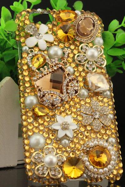 6c 6s plus Golden floral Rhinestone Hard Back Mobile phone Case Cover bling handmade crystal Case Cover for iPhone 4 4s 5 7 5s 6 6 plus Samsung galaxy s7 s4 s5 s6 note10 4