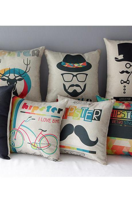 7 pcs a set High Quality hipster Cotton Linen soft Comfortable Pillow Cover Cushion Cover 45cmx45cm