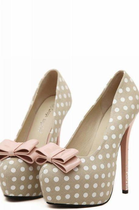 Bow Accent Polka Dot Platform Stiletto Pumps, High Heels