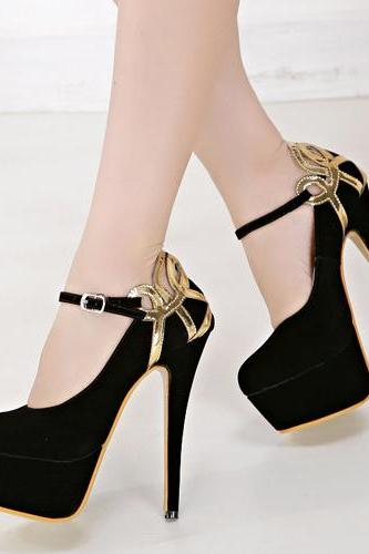 Elegant Gold And Black Ankle Strap High Heels Fashion Shoes