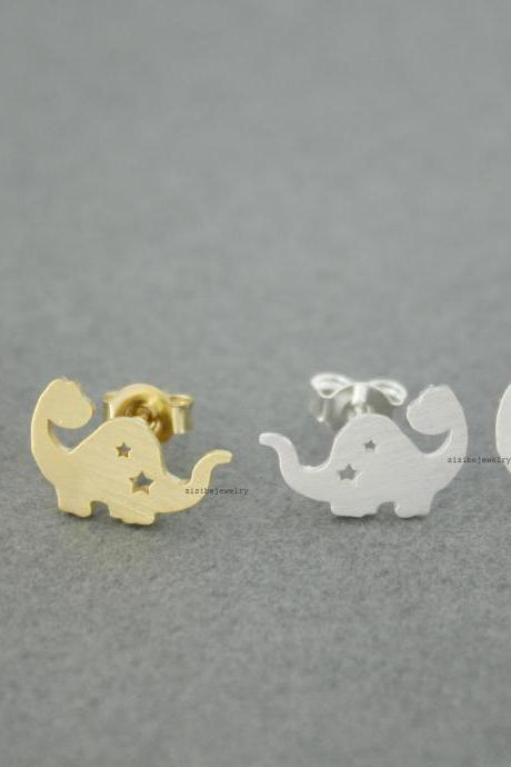 Dino,Dinosaur,Dragond Stud Earrings in Gold / Silver, E0561G