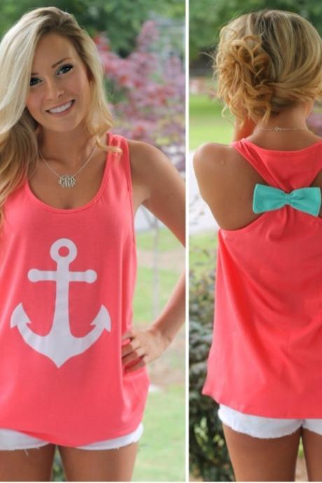 Navy Anchor Back Bow Vest Tank Top