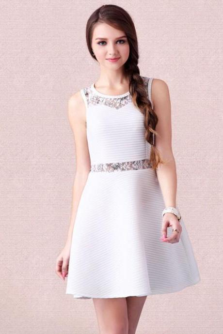 Sleeveless Stitching Striped White Dress