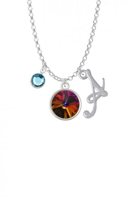 12mm Crystal Rivoli - Fire Red Charm Necklace with Gelato Initial and Crystal Drop NC-Channel-C5288-SmGelato-F2301
