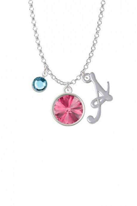 12mm Crystal Rivoli - Hot Pink Charm Necklace with Gelato Initial and Crystal Drop NC-Channel-C5291-SmGelato-F2301