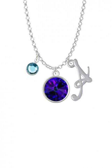 12mm Crystal Rivoli - Violet Purple Charm Necklace with Gelato Initial and Crystal Drop NC-Channel-C5292-SmGelato-F2301
