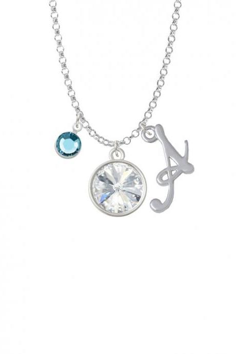 12mm Crystal Rivoli - Clear Charm Necklace with Gelato Initial and Crystal Drop NC-Channel-C5296-SmGelato-F2301