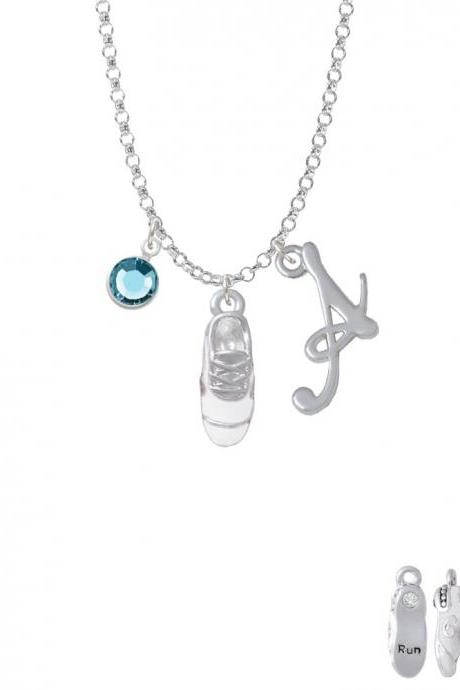 3-D White Running Shoe Charm Necklace with Gelato Initial and Crystal Drop NC-Channel-C4879-SmGelato-F2301