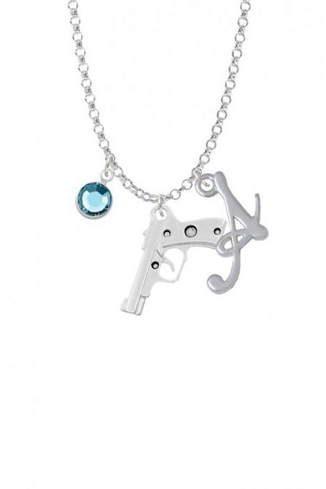 9mm Handgun Charm Necklace with Gelato Initial and Crystal Drop NC-Channel-C6029-SmGelato-F2301