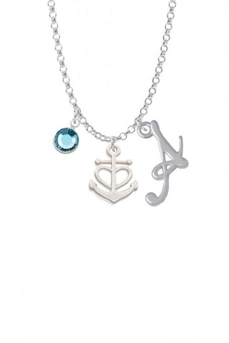 Anchor with Heart Charm Necklace with Gelato Initial and Crystal Drop NC-Channel-C6033-SmGelato-F2301