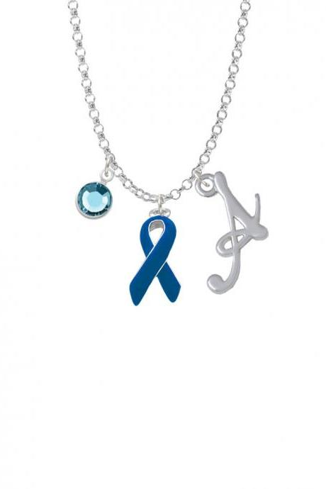 Blue Ribbon Charm Necklace with Gelato Initial and Crystal Drop NC-Channel-C1960-SmGelato-F2301