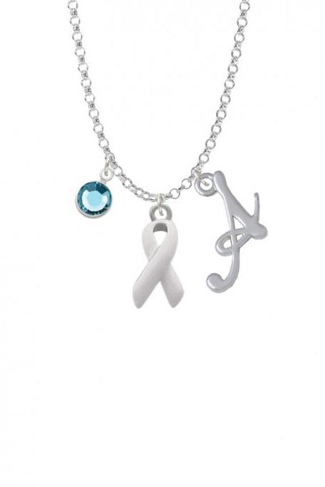 White Ribbon Charm Necklace with Gelato Initial and Crystal Drop NC-Channel-C2078-SmGelato-F2301