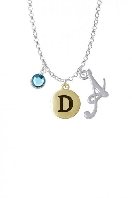 Capital Gold Tone Letter - D - Pebble Disc - Charm Necklace with Gelato Initial and Crystal Drop NC-Channel-C5155-SmGelato-F2301
