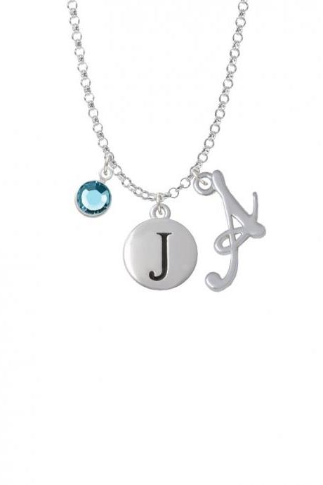 Capital Letter - J - Pebble Disc - Charm Necklace with Gelato Initial and Crystal Drop NC-Channel-C5134-SmGelato-F2301