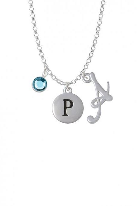 Capital Letter - P - Pebble Disc - Charm Necklace with Gelato Initial and Crystal Drop NC-Channel-C5140-SmGelato-F2301