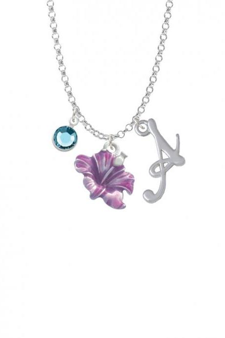 Purple Hibiscus Flower Charm Necklace with Gelato Initial and Crystal Drop NC-Channel-C2438-SmGelato-F2301