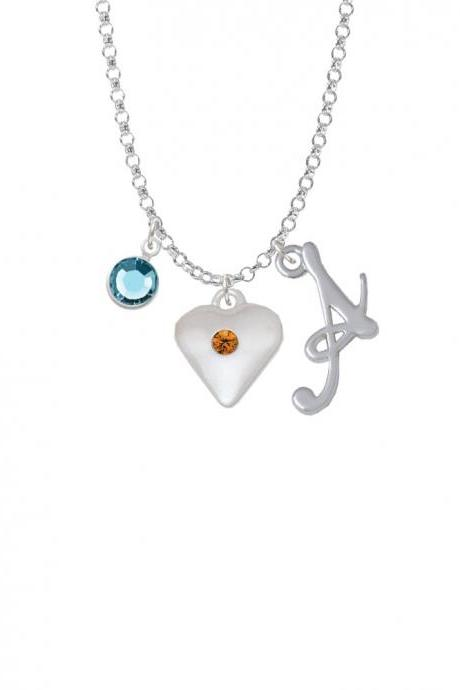 Large Yellow Birthday Crystal Heart Charm Necklace with Gelato Initial and Crystal Drop NC-Channel-C5663-SmGelato-F2301