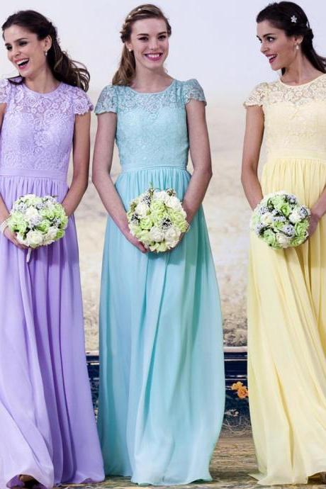 Cheap Summer Bridesmaid Dresses Chiffon 2015 Sexy Sheer Jewel Neckline Cap Sleeve A Line Floor Length Prom Dresses,Party Dress