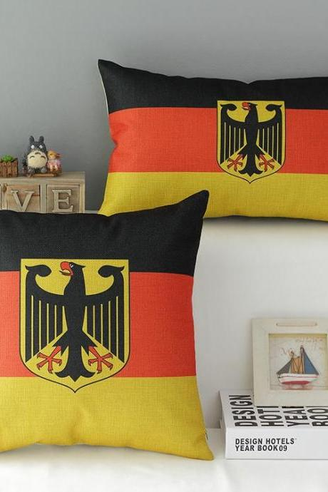 High Quality 2 pcs a set Germany flag Cotton Linen Home Accesorries soft Comfortable Pillow Cover Cushion Cover 45cmx45cm