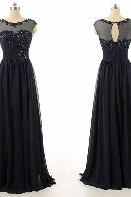 Dark Blue 2015 New Evening Dresses A-line Sheer Scoop Appliques Sequins Open Back Floor-length Chiffon Party Dresses Mother Of the Bride Dresses,Prom Dresses