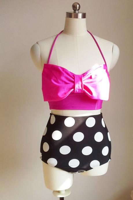 Hot Pink Bow Sexy And Fashionable Beach Bikini Swimwear Swimsuit Retro Highwaisted Swimsuit