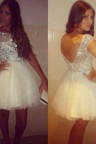 Backless Beading Homecoming Dresses,O-Neck Graduation Dresses,Homecoming Dress,Short/Mini Tulle Homecoming Dress