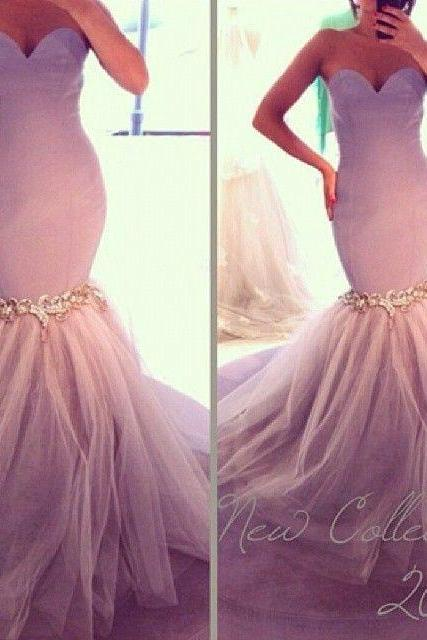 Light Purple Evening Dresses, Tulle Evening Gowns, Mermaid Party Dresses, Beading Evening Gowns, Sweetheart Formal Dresses