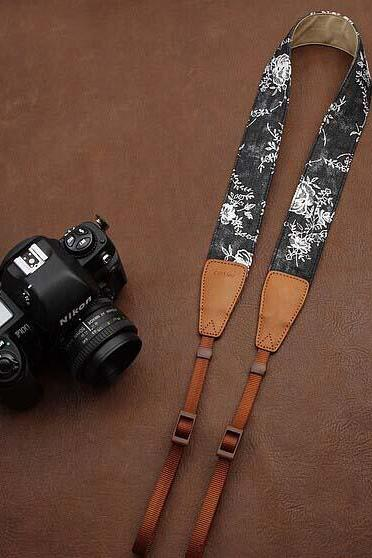 Black floral jeans printing comfortable camera strap Neck Strap elastic carrying a classic for canon nikon sony