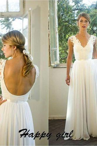 White Wedding Dresses, Chiffon Wedding Dresses, Floor-Length Wedding Dresses, V-Neck Wedding Dresses, Backless Wedding Dresses, Sexy Wedding Dresses, Beach Wedding dresses, Custom Wedding Dresses