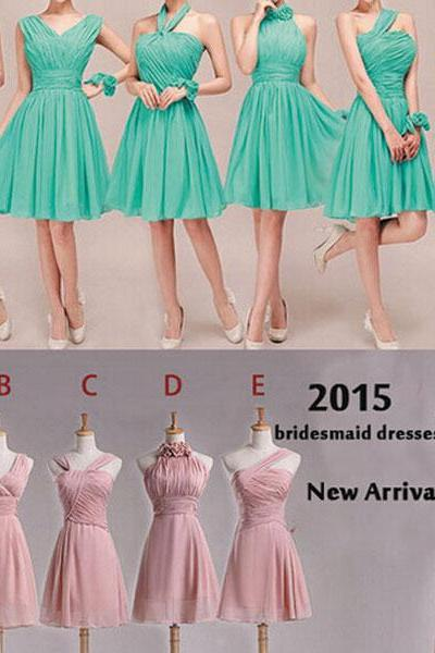Custom Real Photo Short Bridesmaid Dresses, Green Or Pink Mismatch Bridesmaid Dress, Chiffon Bridesmaid Dress, Cheap Bridesmaid Dresses, Dresses For Wedding Party