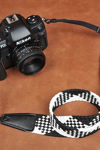 Black white Soft Plait National wind bohemian comfortable camera strap Neck Strap elastic carrying a classic for canon nikon sony