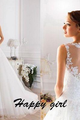 Lace Wedding Dresses, Wedding Dresses 2015, Modern Wedding Dresses, A-Line Wedding Dresses, Applique Wedding Dresses, White Wedding Dresses, Custom Wedding Dresses