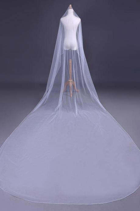 Free Shipping New Cathedral White Elegant 3M Long Wedding Veil Bridal Accessory Veils Bridal Veils