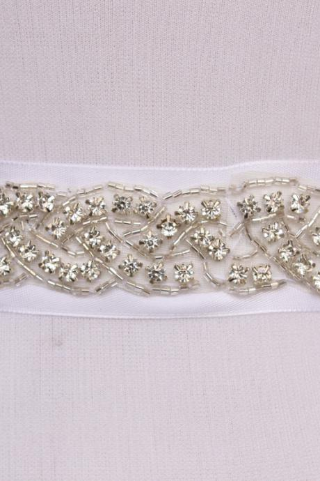 Simple Fashion Handmade Belt Rhinestone Beading Czech Stones Bridal Gown Sash Formal Wedding Evening Dresses Belt