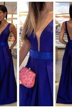 Sexy elegant blue v-neck dress,
