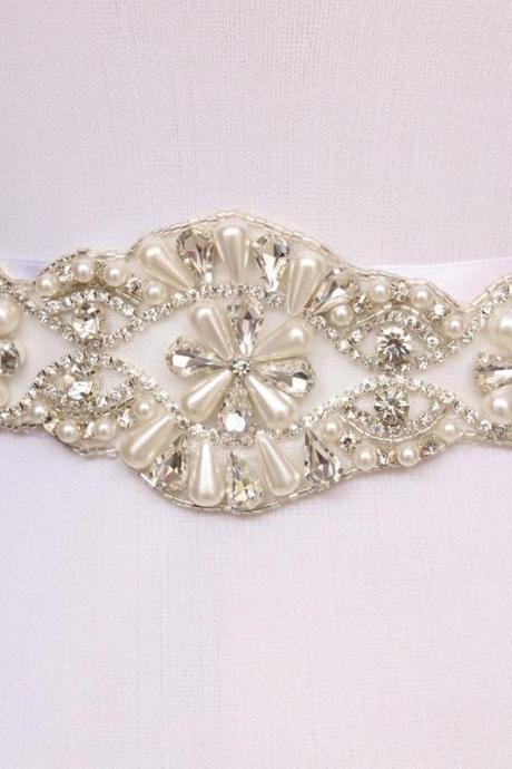 Exquisite Handmade Belt Crystal Rhinestone Pearl Beading Czech Stones Bridal Gown Sash Formal Wedding Evening Dress Belt